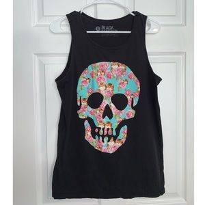 Floral Skull and Cat Tank